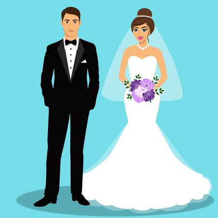 Bruid en bruidegom. Paar. Trouwkaart met de pasgetrouwden. Geïsoleerde objecten. Vector illustratie.