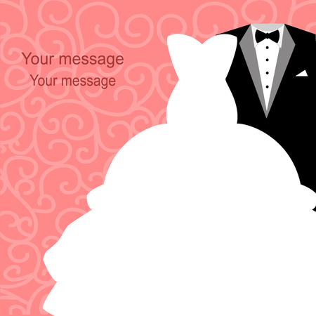 Wedding invitation with a tuxedo and dress on an abstract background. Bride and groom. Vector illustration. Ilustração