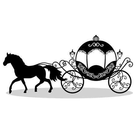 Dekoratives Brougham. Hochzeitskutsche Weinlesewagen mit dem Pferd lokalisiert auf weißem Hintergrund. Auch für Einladungskarten geeignet. Vektor-Illustration Standard-Bild - 84563998