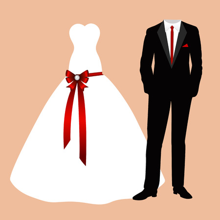Wedding card with the clothes of the bride and groom. Beautiful wedding dress and suit. Vector illustration. Illustration