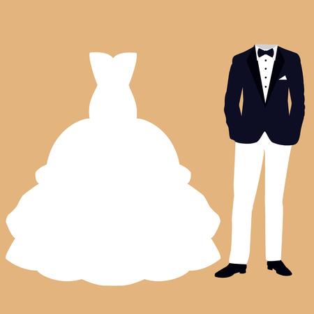 Tarjeta de boda con la ropa de la novia y el novio. Hermoso vestido de novia y esmoquin. Ilustración del vector.