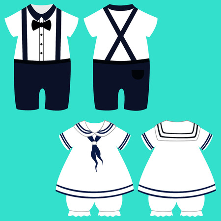 Baby clothes. Romper suit. Childrens tuxedo. The sailors costume. Funny clothes. Vector illustration