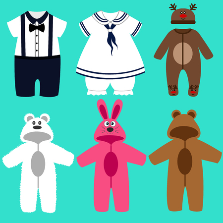 Baby clothes. Childrens tuxedo. Romper suit. The sailors costume. Rompers bear, bunny.  For girls and boys. Vector illustration. Illusztráció