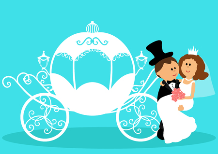 Bride and groom. Wedding carriage. Couple. Wedding card with the newlyweds. Isolated objects. Vector illustration.