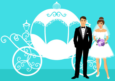 women s clothes: Bride and groom. Wedding carriage. Couple. Wedding card with the newlyweds. Isolated objects. Vector illustration.