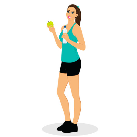 deportes caricatura: Girl with water and apple. Sports girl. Healthy Lifestyle. Flat design. Vector illustration.