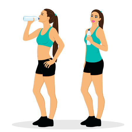 The girl is drinking water after workout Sports girl. Healthy Lifestyle. Flat design. illustration.