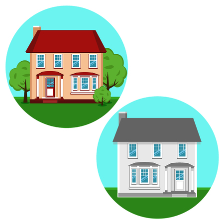 Modern cottage. House. The property. Flat design. Isolated icon at home. Vector illustration Illustration