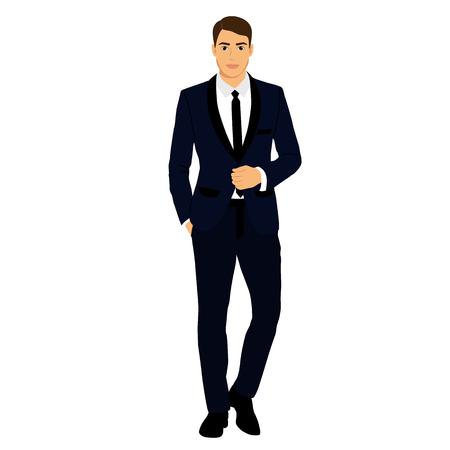 The groom. Clothing. Wedding men's suit, tuxedo Vector illustration