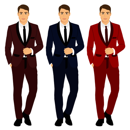 다양 한 색상의 의류 컬렉션 신랑입니다. 웨딩 남자 정장, 턱시도 일러스트