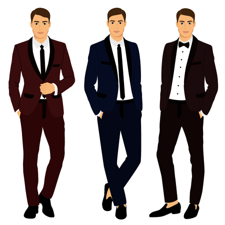 Collection. Clothing. The groom. Wedding men's suit, tuxedo Vector illustration 일러스트