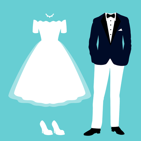 Wedding card with the clothes of the bride and groom. Clothing. Beautiful wedding dress and tuxedo. Vector illustration.