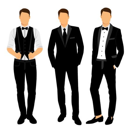 Ślubny garnitur męski i smoking. Kolekcja. Pan młody. Ilustracja wektorowa.