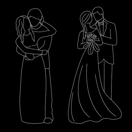 The bride and groom. The white contour of a bride and groom isolated on black background. Vector illustration.