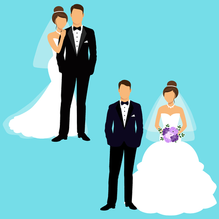 finery: Bride and groom. Couple. Set.  Wedding card with the newlyweds. Isolated objects. Vector illustration