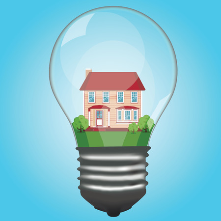 construction project: The house is in a lamp. Light bulb. Modern cottage. House. The property.  Vector illustration