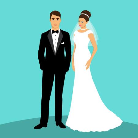Bride and groom Vector illustration. Vetores
