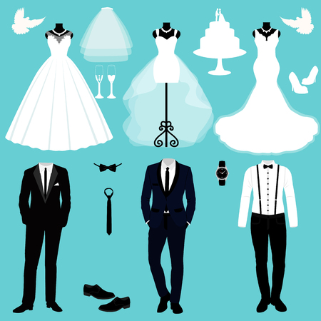 A set of wedding clothes Vector illustration.
