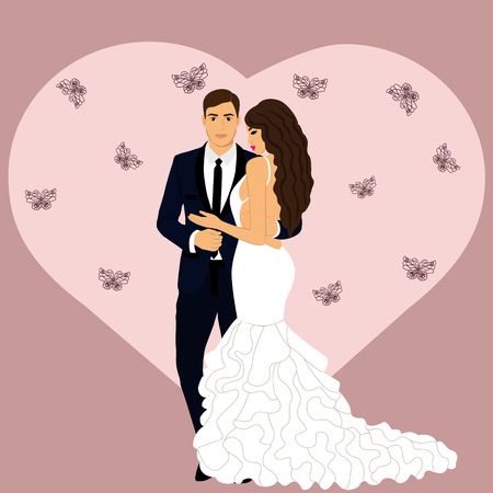 Bride and groom. Wedding card with the newlyweds on a pink background with heart. Also suitable for invitation card. Vector illustration. Illustration