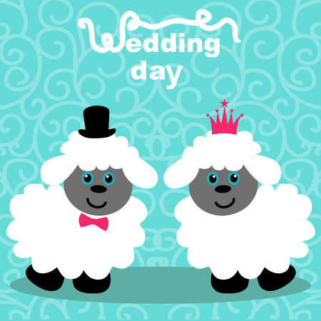 Wedding card with the bride and groom on an abstract background. Lambs. Bride and groom. Vector illustration. Illustration