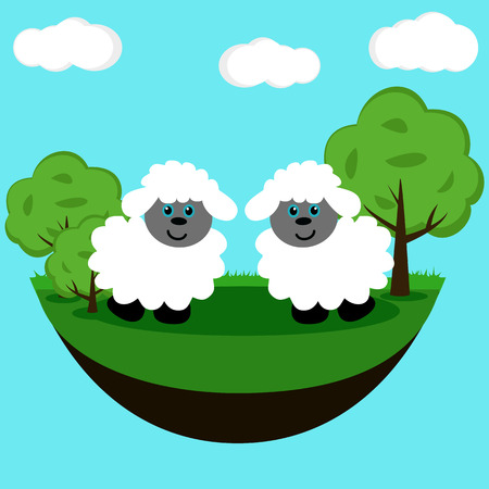 Funny picture with lambs. Flat design. Vector illustration Illustration
