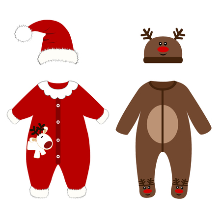 Romper suit. Christmas costumes for children. Santas costume. For girls and boys. Vector illustration.