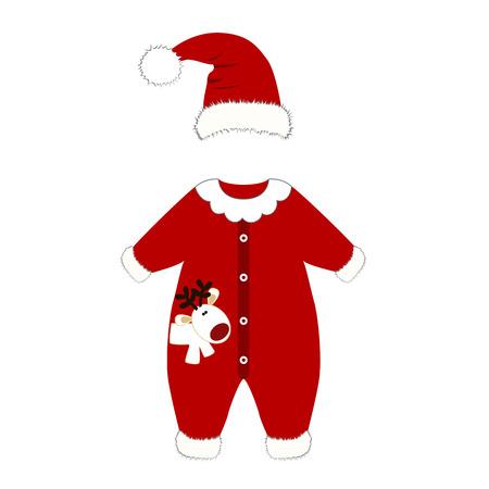 Romper suit. Christmas costume for children. Santas costume. For girls and boys. Vector illustration.