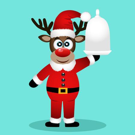 Christmas Reindeer. Christmas dinner. Funny reindeer in a Santa suit. Dinner time. Vector illustration
