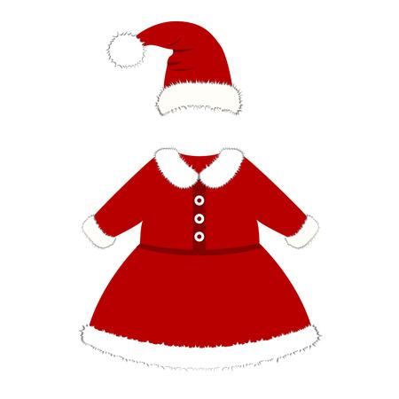 Rompertje. Kerstkostuum voor kinderen. Santa's kostuum. Voor meisjes en jongens. Vector illustratie.