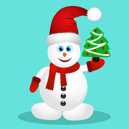Postal con feliz muñeco de nieve. Tarjeta de Navidad. Ilustración vectorial Foto de archivo - 88177953