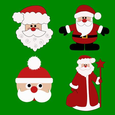 Tarjeta de Navidad. Santa. Ilustración de Vector de iconos de Navidad Foto de archivo - 88177951