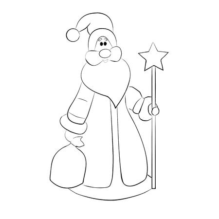Tarjeta de Navidad. Santa. Ilustración de Vector de objeto aislado de contorno Foto de archivo - 88177954