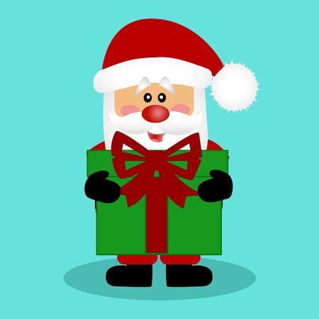 Christmas card. Santa. Santa with a gift. Vector Illustration