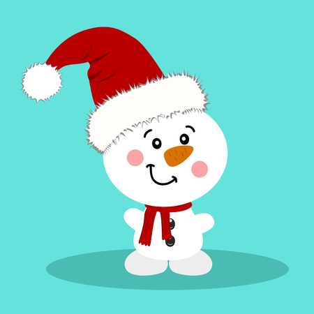 postcard background: Christmas card. Snowman. Isolated object Vector Illustration