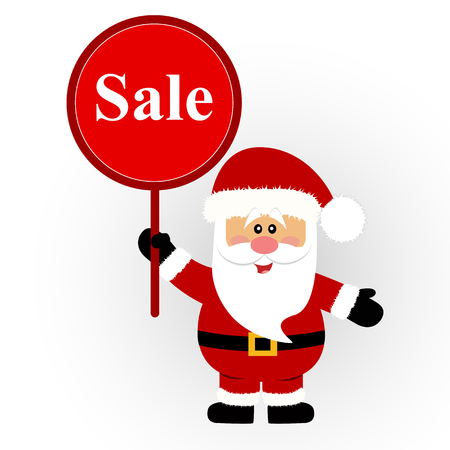 Christmas sale, Santa Claus with banner. Santa with a sign. Vector illustration.