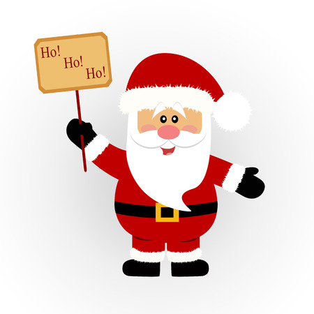 Christmas card. Santa. Santa with a sign. Vector Illustration