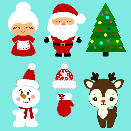 Christmas icons. Collection. Santa. New Year Christmas decoration Illustration