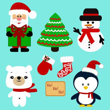 Christmas icons. Collection. Santa. New Year Christmas decoration Illustration