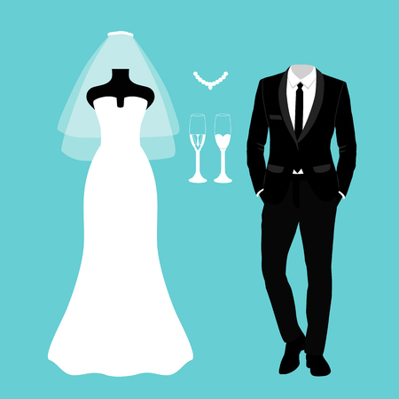 Wedding card with the clothes of the bride and groom. Wedding set. Beautiful wedding dress and tuxedo.