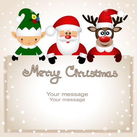 Christmas card. Funny postcard with Christmas Elf, Christmas reindeer and Santa. Vector Illustration.