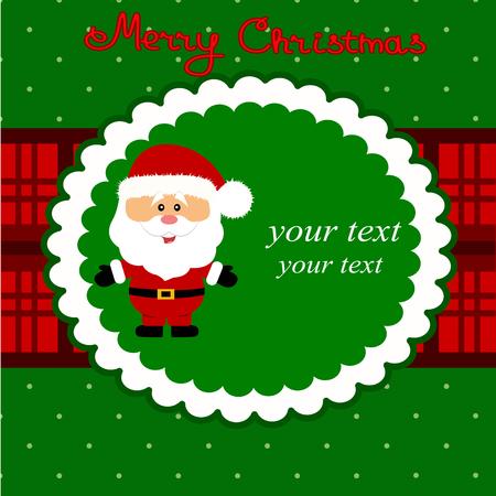 Tarjeta de Navidad. Postal divertida con Santa. Diseño plano. Ilustración vectorial Foto de archivo - 90273618