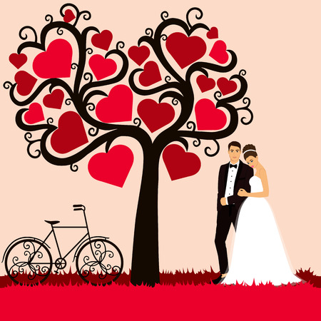 Bride and groom. Wedding card with the newlyweds on the background with decorative tree. Wedding invitation. Vector illustration.