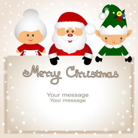 クリスマス カード。クリスマスのエルフ、夫人クラウス サンタと面白いはがき。ベクトルの図。