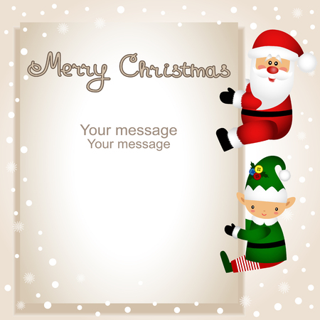 Christmas card. Funny postcard with Christmas Elf and Santa. Vector Illustration. Vectores