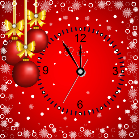 Christmas card with decoration and clock on a red background. Illustration