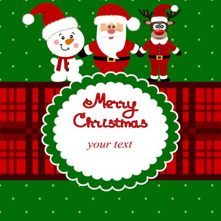 Tarjeta de Navidad. Divertida postal con Santa, renos y un snowma Foto de archivo - 91383182