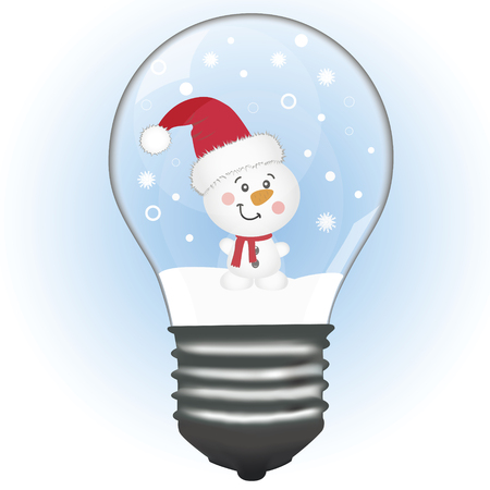 A snowman in a lamp. Christmas decoration. A toy. Vector illustration