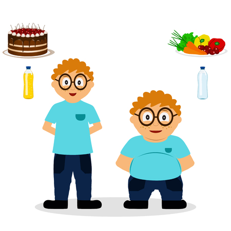 Thin and fat. Proper nutrition. From fat to thin. Before and after. Healthy Lifestyle. The boy becomes thin. Isolated objects. Vector illustration.  Illustration