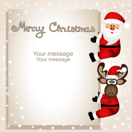 Merry Christmas greeting card template. Çizim