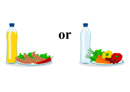 The choice. Thin and fat. Proper nutrition. Incorrect food. Healthy eating. Healthy Lifestyle. Vector illustration
